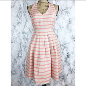 Banana Republic linen striped fit and flare dress
